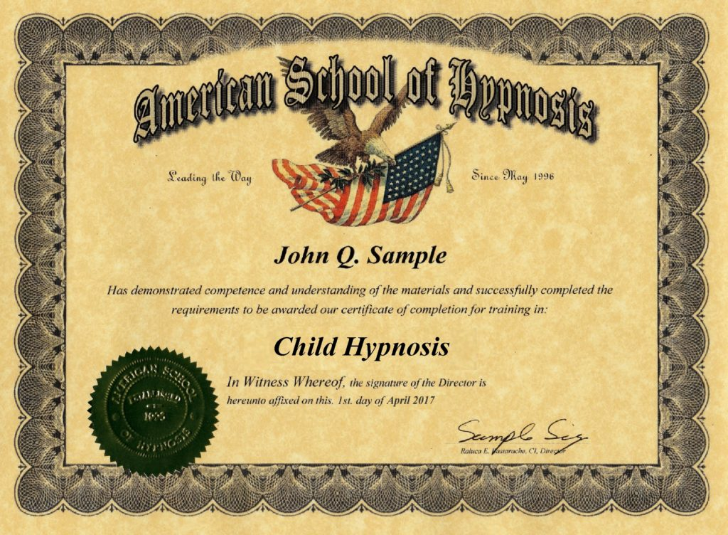 child hypnosis certificate